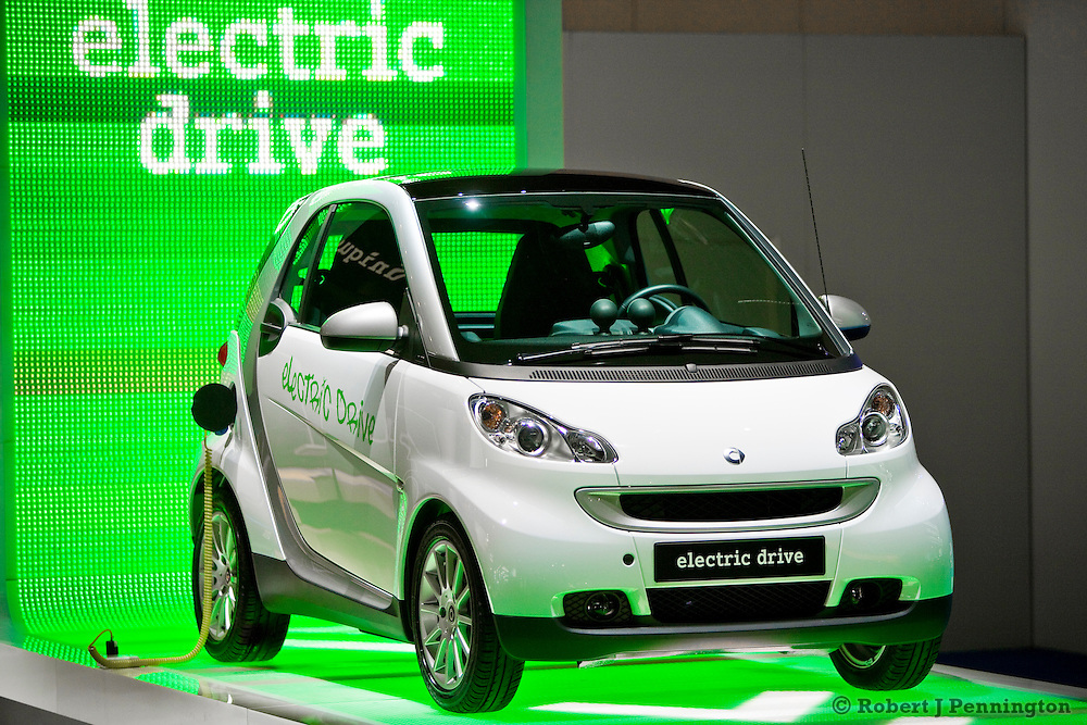 The value-packed, sporty electric Smart fortwo car at the 2009 NAIAS, North American International Auto Show, held in Detroit Michigan.