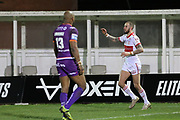 Hull Kingston Rovers centre Ben Crooks (2) scores a try to make it 4-22 and celebrates during the Betfred Super League match between Hull Kingston Rovers and Huddersfield Giants at the Hull College Craven Park  Stadium, Hull, United Kingdom on 21 February 2020.