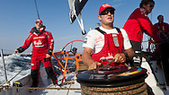 SPAIN, Alicante. 20th October 2011. On board Team Sanya practice session. Cameron Dunn, (left) and  Ryan Houston.