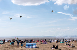 © Licensed to London News Pictures. 22/06/2019. Weston-super-Mare, North Somerset, UK. The Battle of Britain Memorial Flight with The Great War Team of World War One planes at Weston Air Festival taking place over the weekend of 22 and 23 June in Weston Bay with crowds watching from the beach and seafront. Photo credit: Simon Chapman/LNP.