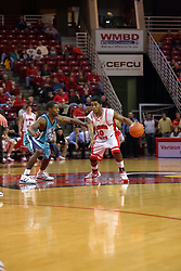 18 November 2007: Dom Johnson works against T.J. Carter at mid court. Illinois State Redbirds defeated the Seahawks of the University of North Carolina - Wilmington 89-73 on Doug Collins Court in Redbird Arena on the campus of Illinois State University in Normal Illinois.