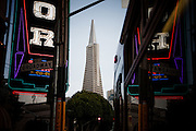 San Francisco, April 3 2012 - View of the city center from North Beach, the historical area of the Beat Generation.