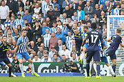 Everton striker Wayne Rooney (10) is beaten in the air during the Premier League match between Brighton and Hove Albion and Everton at the American Express Community Stadium, Brighton and Hove, England on 15 October 2017. Photo by Phil Duncan.