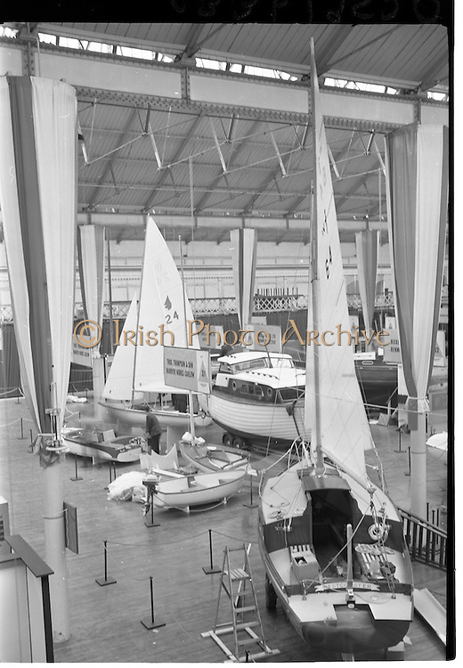 09/03/1964<br /> 03/09/1964<br /> 09 March 1964<br /> Third Irish Boat Show Opening Day at the R.D.S. Grounds, Ballsbridge, Dublin. Picture shows a general view of the show prior to the opening of the event.