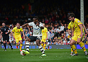 Fulham Forward Moussa Dembélé (25) during the Sky Bet Championship match between Fulham and Milton Keynes Dons at Craven Cottage, London, England on 2 April 2016. Photo by Jon Bromley.