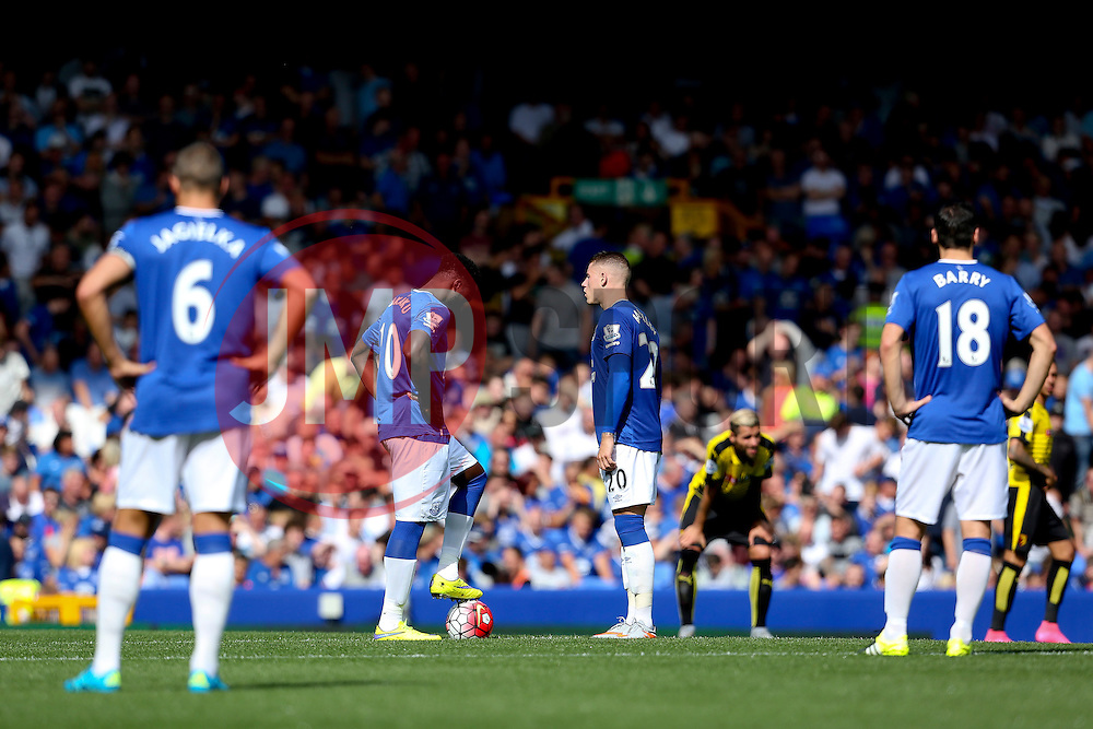 Everton players look dejected after conceding the second goal - Mandatory byline: Matt McNulty/JMP - 07966386802 - 08/08/2015 - FOOTBALL - Goodison Park -Liverpool,England - Everton v Watford - Barclays Premier League