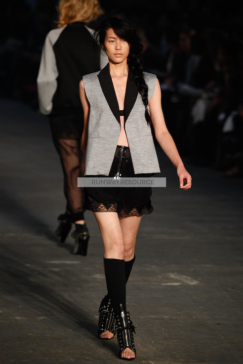 Liu Wen walks the runway wearing Alexander Wang Spring 2010 collection during Mercedes-Benz Fashion Week in New York, NY on September 11, 2009