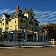 """""""Windermere Hotel""""<br /> <br /> A beautiful and historic yellow  Victorian hotel on Mackinac Island, Michigan!"""