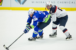 Jan Urbas of Slovenia vs Ben Smith of USA during Ice Hockey match between Slovenia and USA at Day 10 in Group B of 2015 IIHF World Championship, on May 10, 2015 in CEZ Arena, Ostrava, Czech Republic. Photo by Vid Ponikvar / Sportida