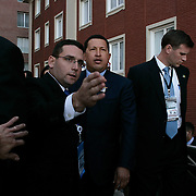 President of Venezuela Hugo Chavez arrives for a group photo during the Summit of the Americas Friday, November 4, 2005, in Mar del Plata, Argentina...Photo by Khue Bui
