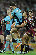 May 25th 2011: Josh Dugan of the Blues is tackled by Ash Harrison of the Maroons during game 1 of the 2011 State of Origin series at Suncorp Stadium in Brisbane, Australia on May 25, 2011. Photo by Matt Roberts/mattrIMAGES.com.au / QRL