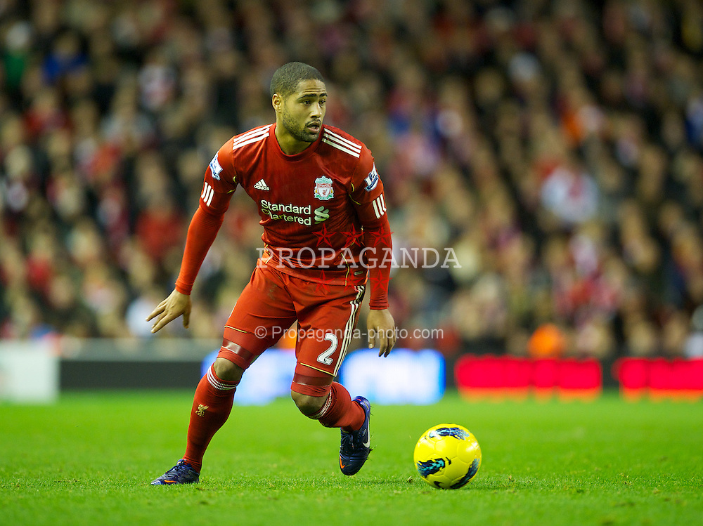 LIVERPOOL, ENGLAND - Boxing Day Monday, December 26, 2011: Liverpool's Glen Johnson in action against Blackburn Rovers during the Premiership match at Anfield. (Pic by David Rawcliffe/Propaganda)