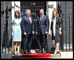 Prime Minister David Cameron and  wife Samantha with  Gordon and Sarah Brown for a lunch with The Queen and Duke of Edinburgh,  and other former Prime Minister's at 10 Downing St.,London,  Tuesday, 24th July 2012.  Photo by: Stephen Lock / i-Images