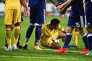 Neymar of Paris Saint Germain sits on the ground during the UEFA Champions League, Group B football match between RSC Anderlecht and Paris Saint-Germain on October 18, 2017 at Constant Vanden Stock Stadium in Brussels, Belgium - Photo Geoffroy Van Der Hasselt / ProSportsImages / DPPI