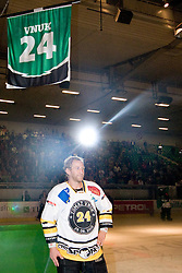 Tomaz Vnuk and his jersey on the top of the hall as his number 24 is retired in Tomaz Vnuk's exhibition game between team HDD Tilia Olimpija and team 24 Ever on August 28, in Ljubljana, Slovenia. (Photo by Matic Klansek Velej / Sportida)