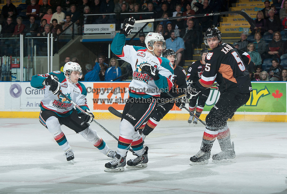 KELOWNA, CANADA - FEBRUARY 28: Tyrell Goulbourne #12 of Kelowna Rockets looks to the net after a rebound shot against the Calgary Hitmen on February 28, 2015 at Prospera Place in Kelowna, British Columbia, Canada.  (Photo by Marissa Baecker/Shoot the Breeze)  *** Local Caption *** Tyrell Goulbourne;