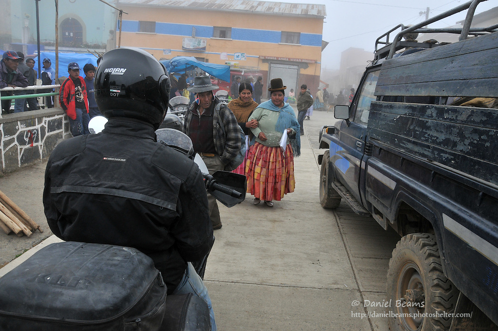 Motorcycle trip arriving in Tacacoma, Bolivia