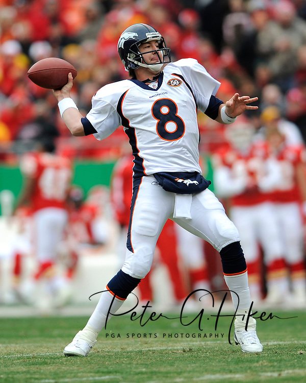 December 6, 2009:  Quarterback Kyle Orton #8 of the Denver Broncos drops back to pass in the first quarter against the Kansas City Chiefs at Arrowhead Stadium in Kansas City, Missouri.  The Broncos defeated the Chiefs 44-13...