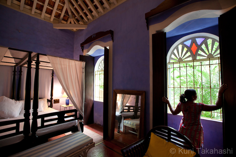 Guest room at Quelleachy Gally in Goa, India on Jan 23, 2014. French woman Marie-Christine Rebillet&rsquo;s forty-year love affair with India led her to restore this Indo-Portuguese house close to the beach in the village of Candolim in north Goa. <br /> (Photo by Kuni Takahashi)