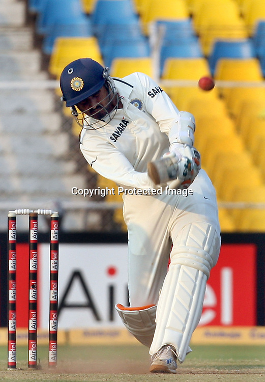 Indian Batsman Harbhajan Singh Hi The Shot During The India vs New Zealand 1st Test Match Played at Sardar Patel Stadium, Motera, Ahmedabad 7, November 2010 (5-day match)