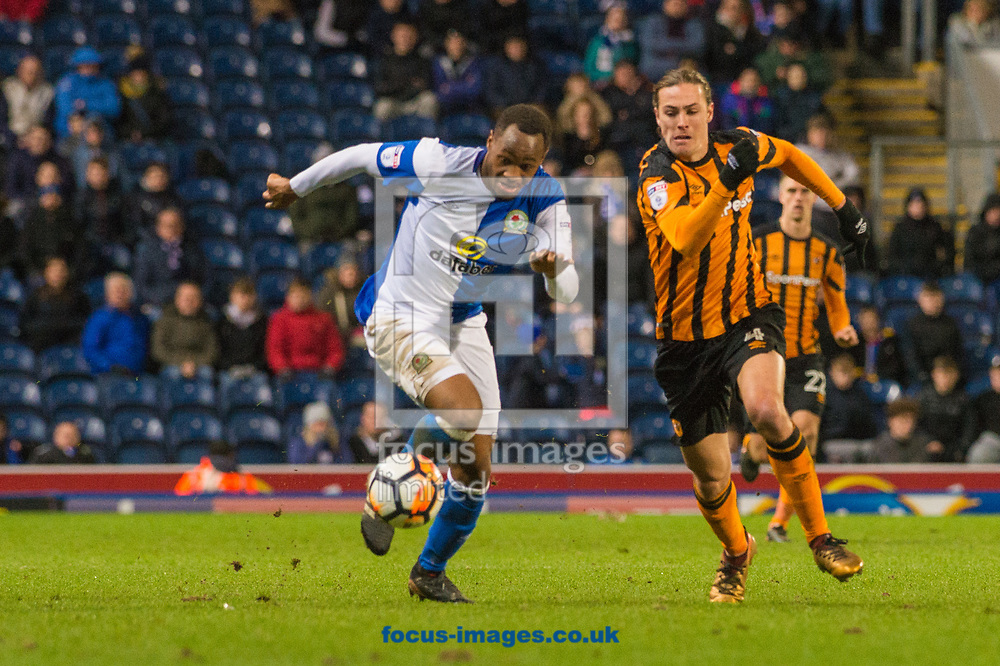 Jackson Irvine of Hull City in a chase for the ball with Ryan Nyambe of Blackburn Rovers during the FA Cup match at Ewood Park, Blackburn<br /> Picture by Matt Wilkinson/Focus Images Ltd 07814 960751<br /> 06/01/2018