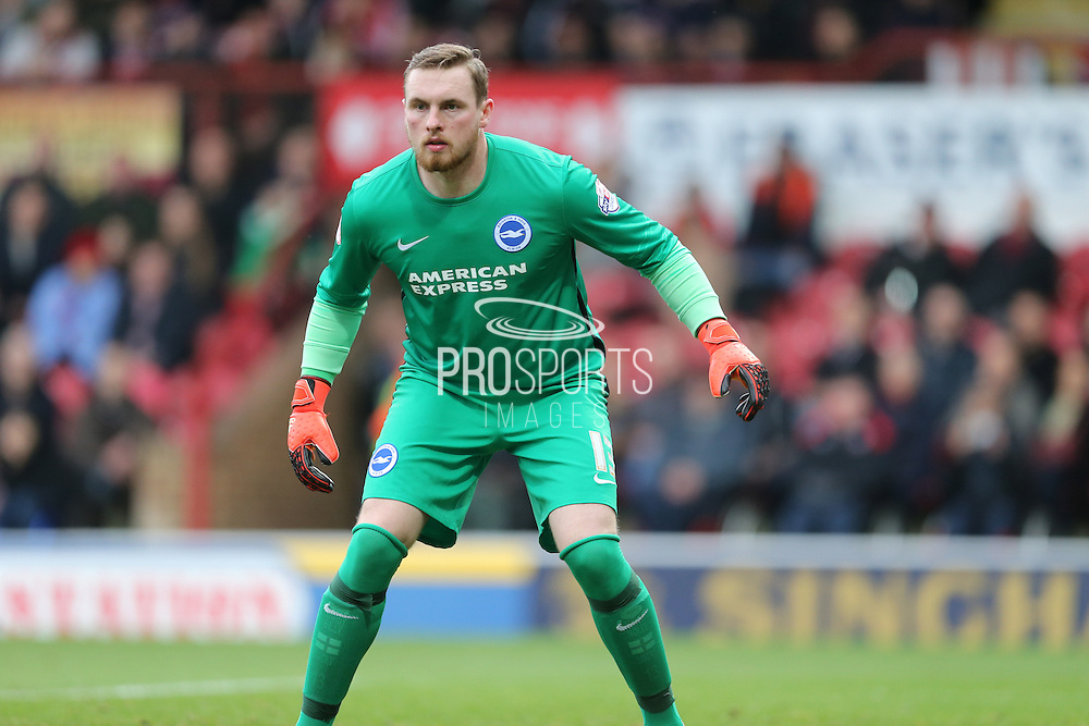 Brighton goalkeeper, David Stockdale (13) during the Sky Bet Championship match between Brentford and Brighton and Hove Albion at Griffin Park, London, England on 26 December 2015.