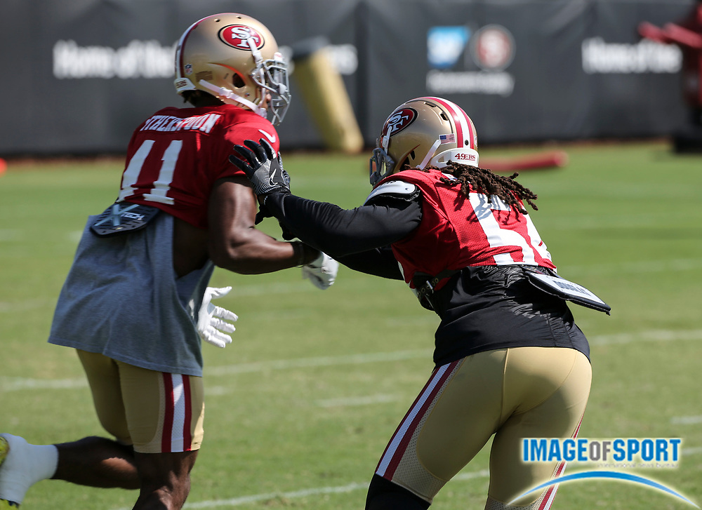 August 8, 2017; Santa Clara, CA, USA; San Francisco 49ers cornerback Ahkello Witherspoon (41) line backer Ray-Ray Armstrong (54) participate in punt return drills and at training camp at the SAP Performance  Facility.