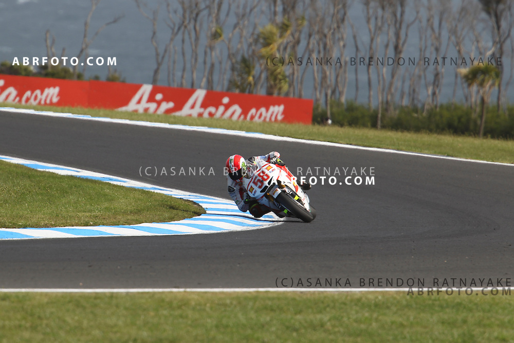 16 October 2011: Marco Simoncelli (58) riding the San Carlo Honda Gresini turns into turn 8 during the IVECO Australian MotoGP Grand Prix at the Phillip Island Circuit in Phillip Island, Victoria, Australia.