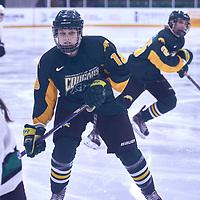2nd year forward, Jordan Kulbida (18) of the Regina Cougars during the Women's Hockey Away Game on Fri Jan 11 at University of Saskatoon. Credit: Arthur Ward/Arthur Images
