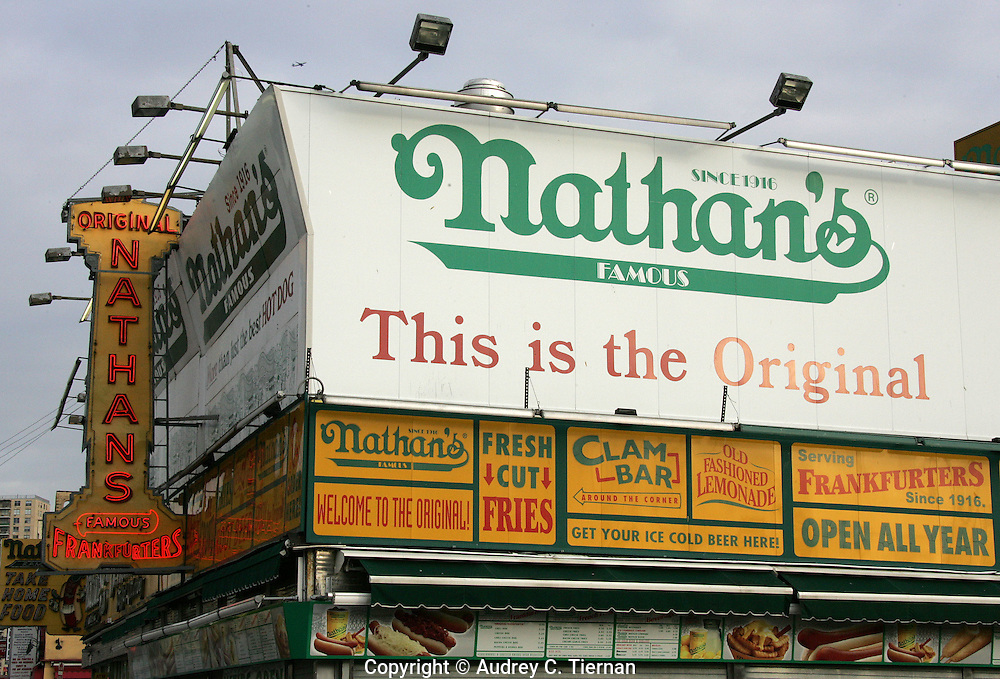 Coney Island, NY:  May 13, 2005--  The original Nathan's famous hot dog stand in Coney Island, Brooklyn.   ©Audrey C. Tiernan