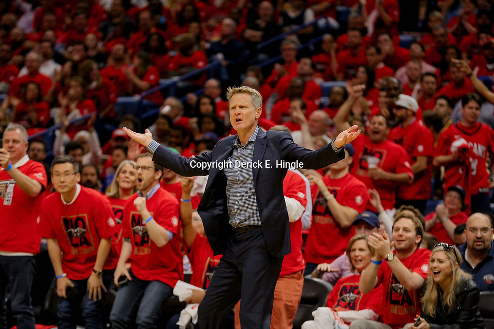 May 4, 2018; New Orleans, LA, USA; Golden State Warriors head coach Steve Kerr reacts during the second quarter in game three of the second round of the 2018 NBA Playoffs against the New Orleans Pelicans at Smoothie King Center. Mandatory Credit: Derick E. Hingle-USA TODAY Sports
