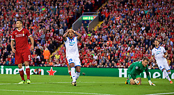 LIVERPOOL, ENGLAND - Wednesday, August 23, 2017: TSG 1899 Hoffenheim's Serge Gnabry looks dejected after missing a chance during the UEFA Champions League Play-Off 2nd Leg match between Liverpool and TSG 1899 Hoffenheim at Anfield. (Pic by David Rawcliffe/Propaganda)