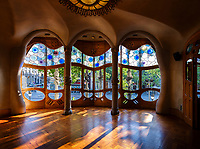 BARCELONA, SPAIN - CIRCA MAY 2018: Interior of Casa Batlló, a famous building in the center of Barcelona designed by Antoni Gaudi. View of the Noble Floor.