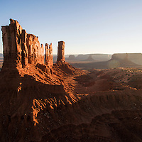 USA, Arizona, Monument Valley Navajo Tribal Park, Aerial view of towering sandstone mesas at sunset