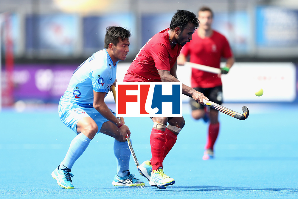 LONDON, ENGLAND - JUNE 17: Keegan Pereira of Canada plays the ball during the Hero Hockey World League Semi Final match between Canada and India at Lee Valley Hockey and Tennis Centre on June 17, 2017 in London, England.  (Photo by Alex Morton/Getty Images)