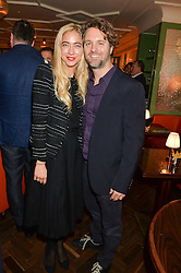 DAVID SIMPKINS and ALINA KOHLEM at a party hosted by Pace Gallery as part of Frieze 2015 held at 45 Jermyn Street, London on 15th October 2015.