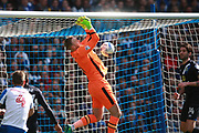Blackburn Rovers goalkeeper Jason Steele fumbles during the EFL Sky Bet Championship match between Brighton and Hove Albion and Blackburn Rovers at the American Express Community Stadium, Brighton and Hove, England on 1 April 2017. Photo by Bennett Dean.