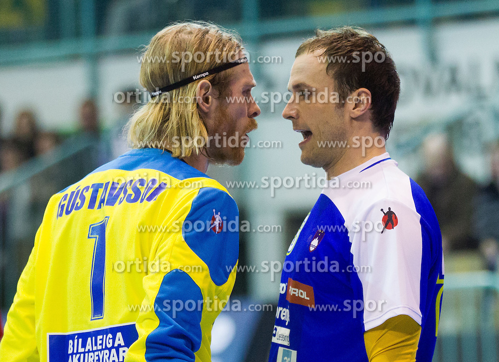 B.P. Gustavsson of Iceland vs Uros Zorman of Slovenia during handball match between National teams of Slovenia and Iceland in 3rd Round of Qualification of Men's European Championship Denmark 2014 on April 3, 2013 in Arena Tabor, Maribor, Slovenia. (Photo By Vid Ponikvar / Sportida)