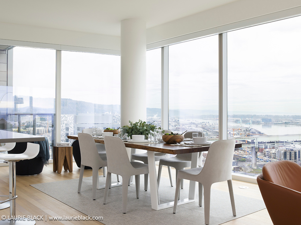 Condo dining room with view