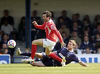 Photo: Olly Greenwood.<br /> Southend United v Barnsley. Coca Cola Championship. 14/04/2007. Southend's Simon Francis and Barnsley's Daniel Nardiello
