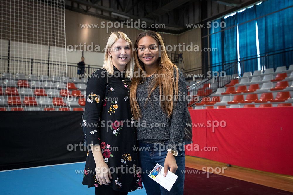 Tamara Mavsar of RK Krim Mercator and Elizabeth Omoregie of RK Krim Mercator (missing the game because of injury) after handball match between RK Krim Mercator and NFH - Nykobing Falster in Group Matches of Women's EHF Champions League 2017/18, on October 14, 2017 in Arena Kodeljevo, Ljubljana, Slovenia.