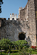 The garden in the San Nicolas Tolentino Temple and Ex-Monastery in Actopan, Hidalgo, Mexico. The colonial church and convent  was built in 1546 and combine architectural elements from the romantic, gothic and renaissance periods.