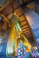 Wat Po Reclining Gold Buddha, vertical, Bangkok, Thailand