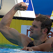 Liam Tancock of Great Britain winning the Men's 50m Backstroke at the World Swimming Championships in Rome, Italy on Sunday, August 2, 2009. Photo Tim Clayton.