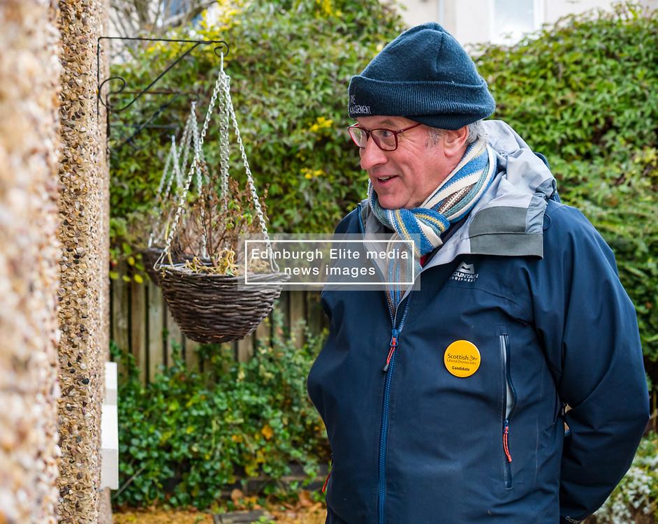 Haddington, East Lothian, Scotland, United Kingdom, 12 November 2019. General Election campaigning:  Robert O'Riordan, the Scottish Liberal Democrat candidate for East Lothian canvasses voters in Long Cram today. <br /> Sally Anderson   EdinburghElitemedia.co.uk