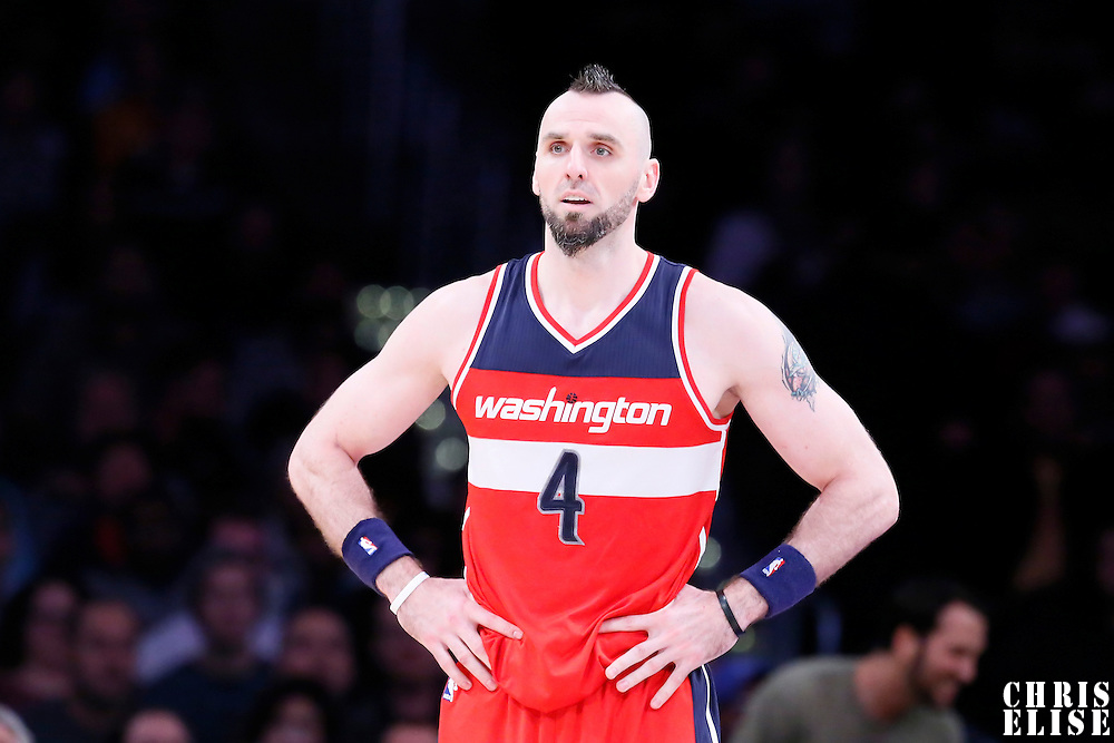 27 January 2015: Washington Wizards center Marcin Gortat (4) rests during the Washington Wizards 98-92 victory over the Los Angeles Lakers, at the Staples Center, Los Angeles, California, USA.