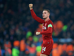 LIVERPOOL, ENGLAND - Tuesday, December 11, 2018: Liverpool's captain Jordan Henderson celebrates after beating SSC Napoli 1-0 and progressing to the knock-out phase during the UEFA Champions League Group C match between Liverpool FC and SSC Napoli at Anfield. (Pic by David Rawcliffe/Propaganda)