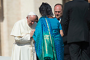 VATICAN CITY 04 OCTOBER 2017: Photographs from the General Audience with Pope Francis on October 04, 2017 at Saint Peters Square in Vatican City, Rome, Italy.