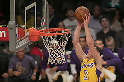 November 21, 2017 - Los Angeles, California, United States of America - Lonzo Ball #2 of the Los Angeles Lakers dunks the ball during their game with the Chicago Bulls on Tuesday November 21, 2017 at the Staples Center in Los Angeles, California. Lakers defeat Bulls, 103-94. JAVIER ROJAS/PI (Credit Image: © Prensa Internacional via ZUMA Wire)