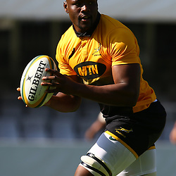 Oupa Mohoje during the Field training at Growthpoint Kings Durban,South Africa. 15th June 2017(Photo by Steve Haag)